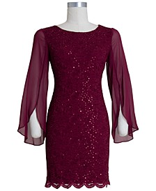 Flutter-Sleeve Sequined Lace Dress