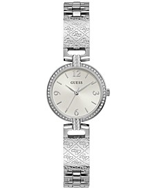Women's Logo-Textured Stainless Steel Bracelet Watch 27mm