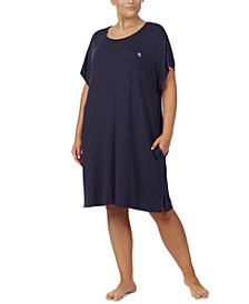 Plus Size Printed Short Nightgown