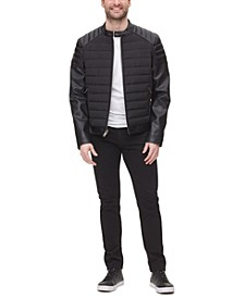 Mixed Media Quilted Racer Men's Jacket, Created for Macy's