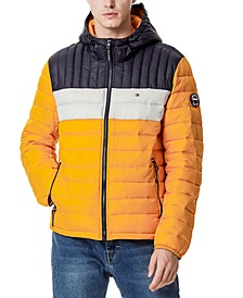 Men's Quilted Color Blocked Hooded Puffer Jacket