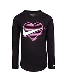 Little Girls Long Sleeve Heart Swoosh Logo Graphic T-shirt