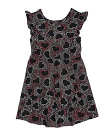 Short Flutter Sleeve Cinched Waist Heart All Over Print Dress