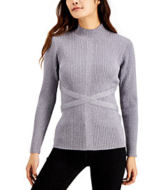 Fever Mock-Neck Bandage Sweater