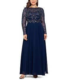 Plus Size Embellished Illusion Gown