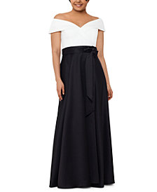 XSCAPE Plus Size Colorblocked Off-The-Shoulder Ball Gown