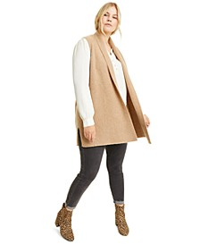 Plus Size Cashmere Shaker-Stitch Vest, Created for Macy's