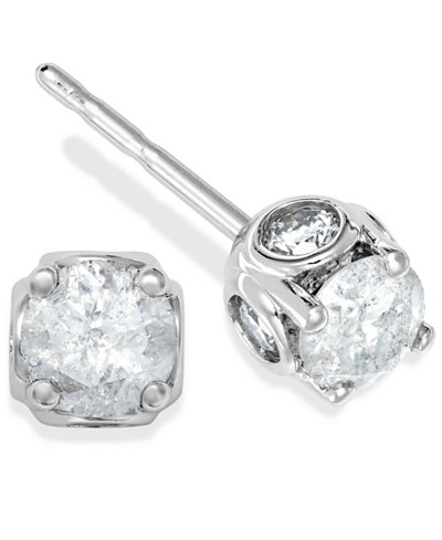 Diamond Spiral Bezel Stud Earrings in 14k White Gold (3/8 ct. t.w.)