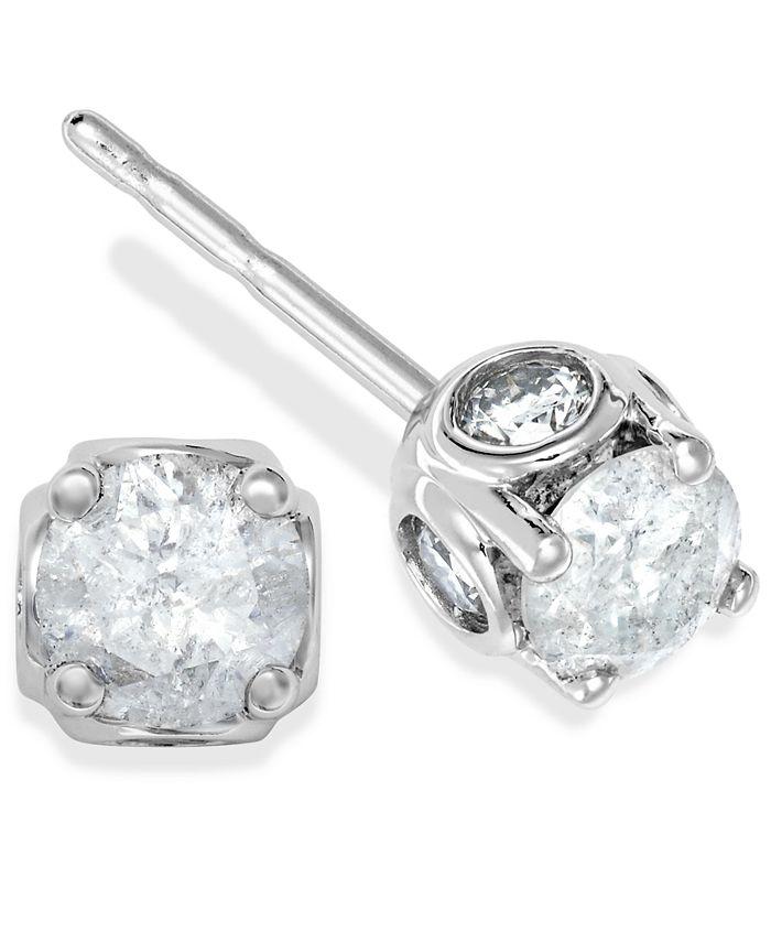 Macy's - Diamond Spiral Bezel Earrings in 14k White Gold (3/8 ct. t.w.)