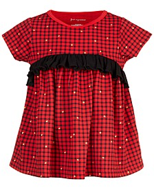 Baby Girls Checked Ruffle Cotton Top, Created for Macy's