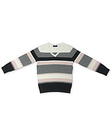 Petite Cotton Striped Cable V-Neck Sweater, Created for Macy's