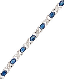 10k White Gold Bracelet, Sapphire (5 ct. t.w.) and Diamond Accent XO Link Bracelet