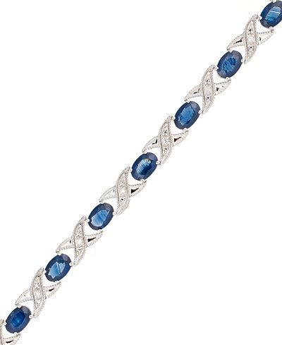 10k White Gold Bracelet, Sapphire (5 ct. t.w.) and Diamond Accent XO Link Bracelet