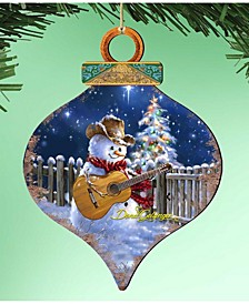 by Dona Gelsinger Guitar Player Snowman Ornament, Set of 2