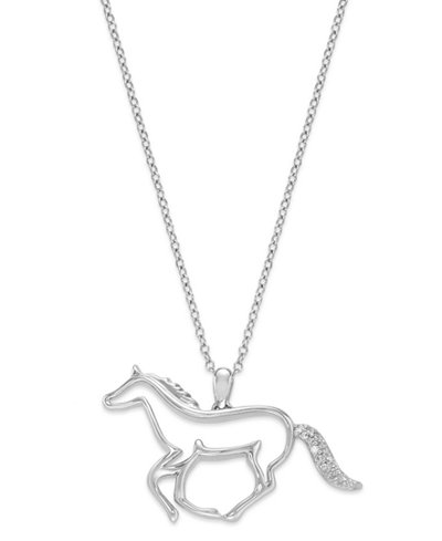 Aspca tender voices sterling silver necklace diamond accent aspca tender voices sterling silver necklace diamond accent running horse pendant aloadofball Image collections