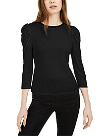 Mesh-Trim Puff-Sleeve Top, Created for Macy's