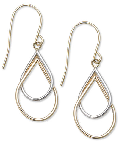 10k Two-Tone Earrings, Double Teardrop Earrings