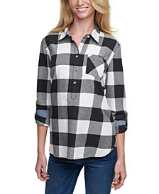 Tommy Hilfiger Buffalo Plaid Cotton Roll-Tab-Sleeve Top
