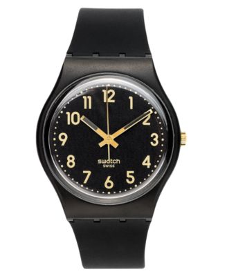 swatch watch unisex swiss golden tac black silicone strap mm gb