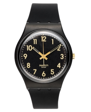 Swatch Watch, Unisex Swiss Golden Tac Black Silicone Strap 34mm GB274