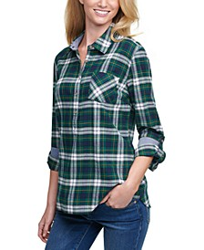 Plaid Cotton Roll-Tab-Sleeve Top
