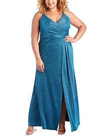 Trendy Plus Size Surplice Metallic Gown