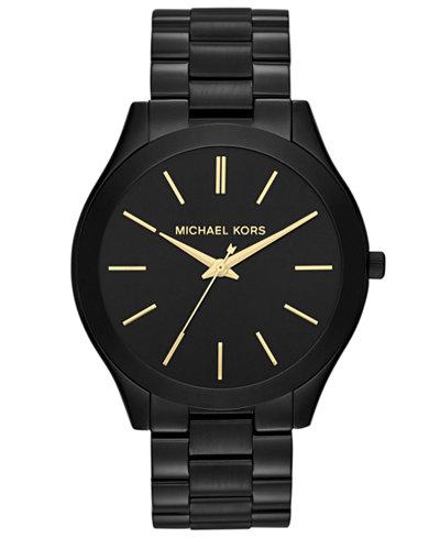 Michael Kors Unisex Slim Runway Black-Tone Stainless Steel Bracelet Watch 42mm MK3221