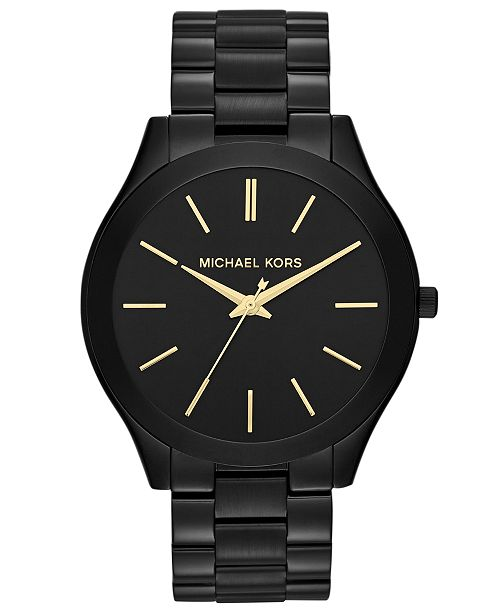 Michael Kors Unisex Slim Runway Black-Tone Stainless Steel Bracelet Watch 42mm MK3221