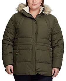 Plus-Size Interior-Drawstring Down Coat