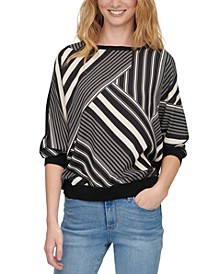Printed Mixed-Media Elbow-Sleeve Sweater
