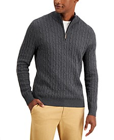 Men's Cable-Knit Quarter-Zip Cotton Sweater, Created for Macy's