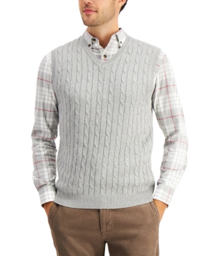 1920s Style Mens Vests Club Room Mens Cable-Knit Cotton Sweater Vest Created for Macys $12.36 AT vintagedancer.com