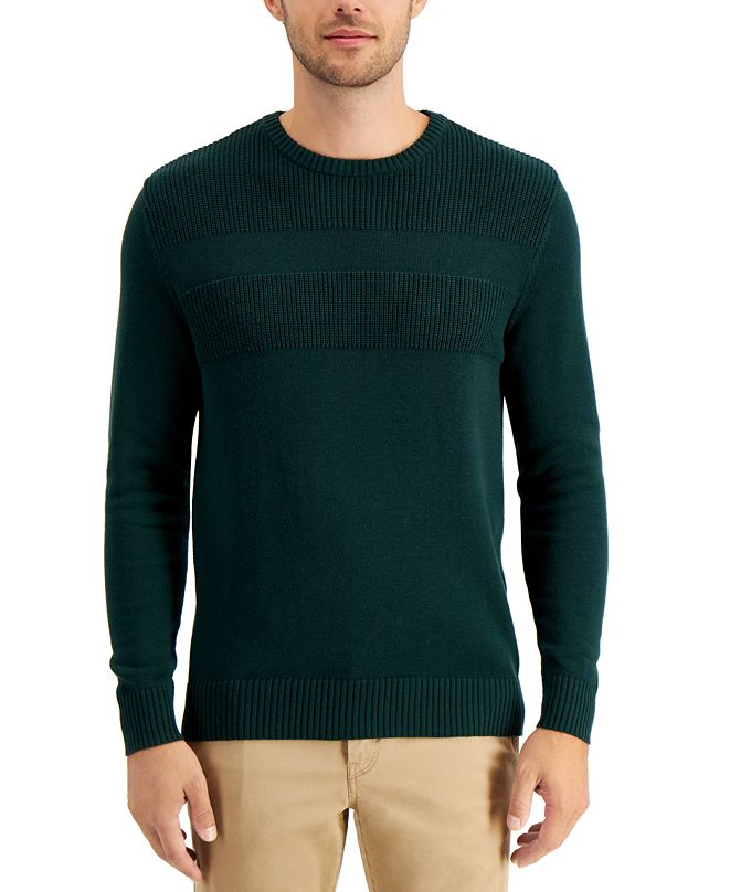 Club Room Men's Textured Cotton Sweater, Created for Macy's