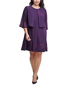 Plus Size Lace-Trim Dress & Bell-Sleeve Jacket