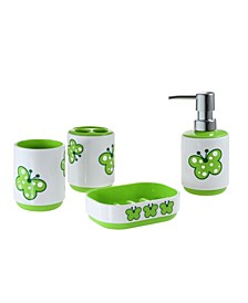 Kid's Butterfly 4 Piece Bathroom Accessory Set