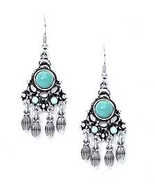 Simulated Turquoise Fine Silver Plated Chandelier Wire Earrings