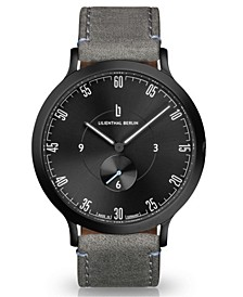 L1 All Gray Leather Strap Watch, 42mm