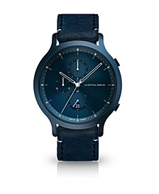 All Blue Chronograph with Blue Leather Strap Watch, 42mm