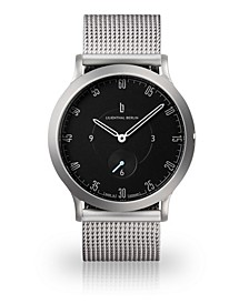 L1 Sliver-Tone Stainless Steel Mesh Bracelet Watch, 37.5mm
