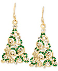 Gold-Tone Crystal Christmas Tree Drop Earrings, Created for Macy's