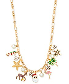 "Gold-Tone Crystal & Imitation Pearl Tropical Santa Charm Necklace, 17-1/2"" + 3"" extender, Created for Macy's"
