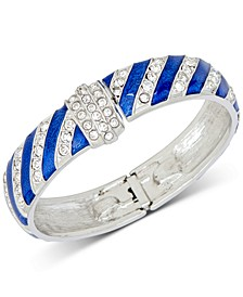 Silver-Tone Pavé Stripe Hanukkah Bangle Bracelet, Created for Macy's