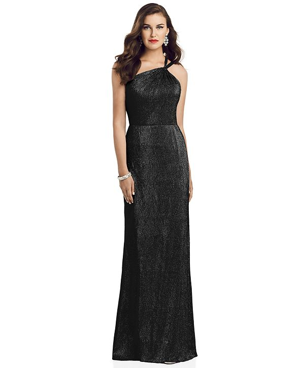 Dessy Collection One-Shoulder Metallic Gown