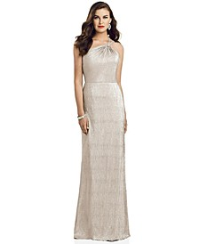 One-Shoulder Metallic Gown