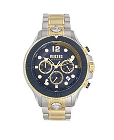 Men's Volta Silver and Gold Tone Stainless Steel Bracelet Watch 49mm
