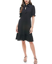 Petite Tie-Neck Ruffled-Hem Dress