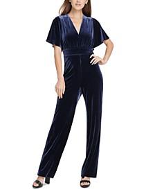 Velvet Flutter Sleeve Jumpsuit