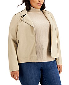 Plus Size Faux Leather Moto Jacket, Created for Macy's