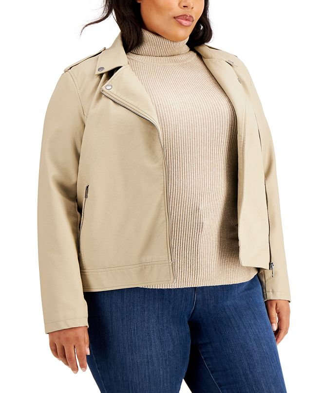 Style & Co Plus Size Faux Leather Moto Jacket, Created for Macy's