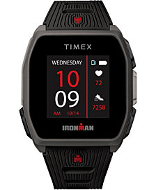 Timex Men's Ironman R300 Black Silicone Strap GPS Smart Watch with Heart Rate 41mm